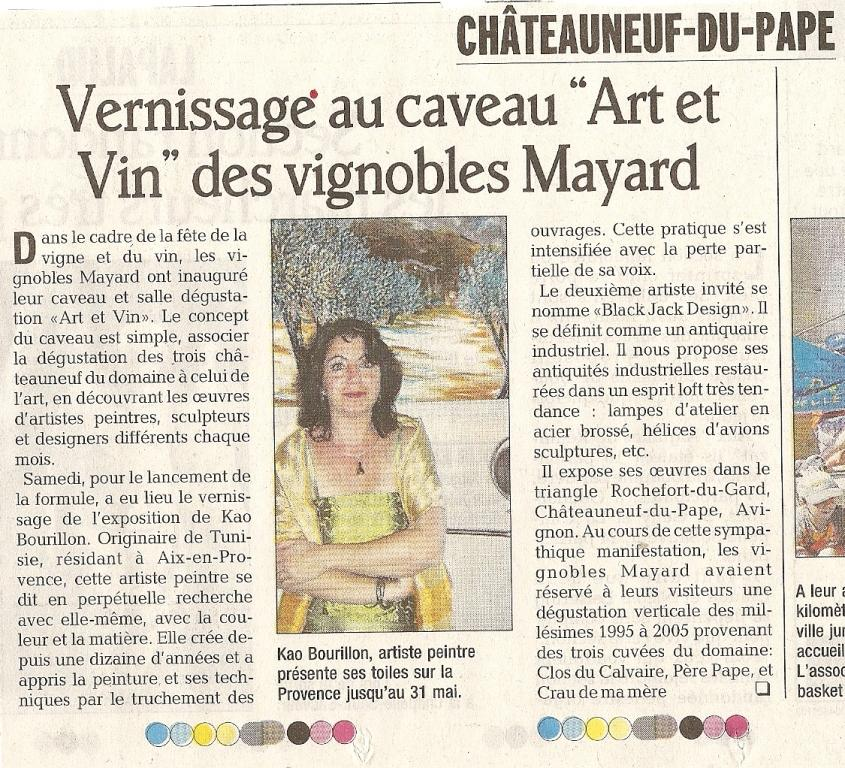 Article du Vaucluse Matin du lundi 21 mai 2007