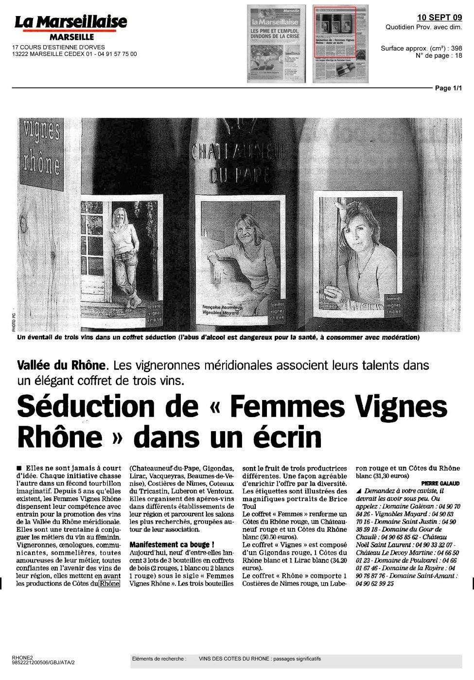 Coffrets séduction des Femmes Vignes Rhône