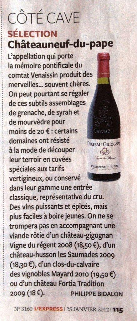 Clos du Calvaire 2010 sélectionné par Philippe Bidalon journaliste à l'Express. dans Revue de presse - Actualité presse IMG_0167-438x1024