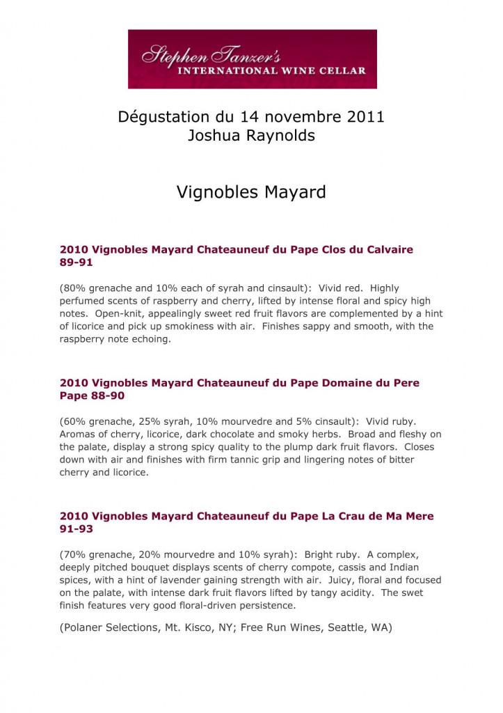 Notes de dégustation de Joshua Raynolds concernant le millésime 2010 des Vignobles Mayard dans Revue de presse - Actualité presse Résultats-Tanzer-2012-Vignobles-Mayard-copie-723x1024