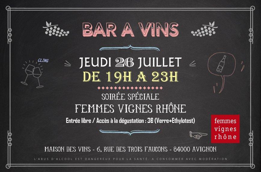 Les Femmes Vignes Rhône font leur festival - Bar à Vins de la Maison des Vins en Avignon dans Femmes Vignes Rhône bar