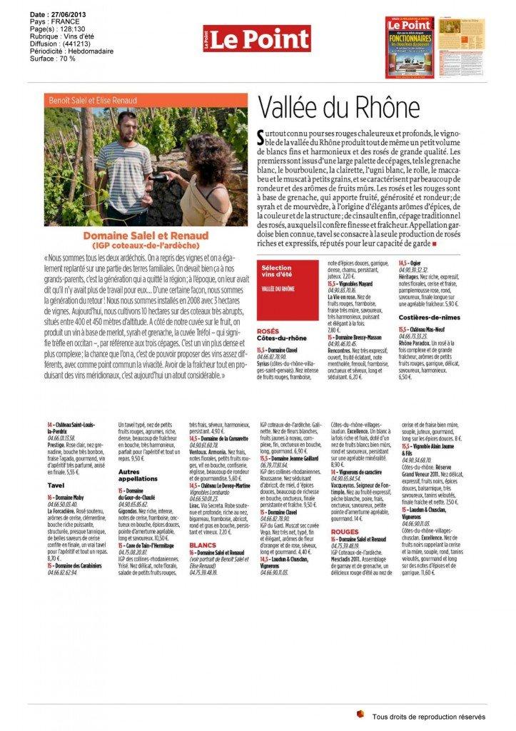 Notre Côtes du Rhône rosé La Vie en Rose sélectionné par l'hebdomadaire Le Point. dans Revue de presse - Actualité presse le-point-devoy-martine-copie