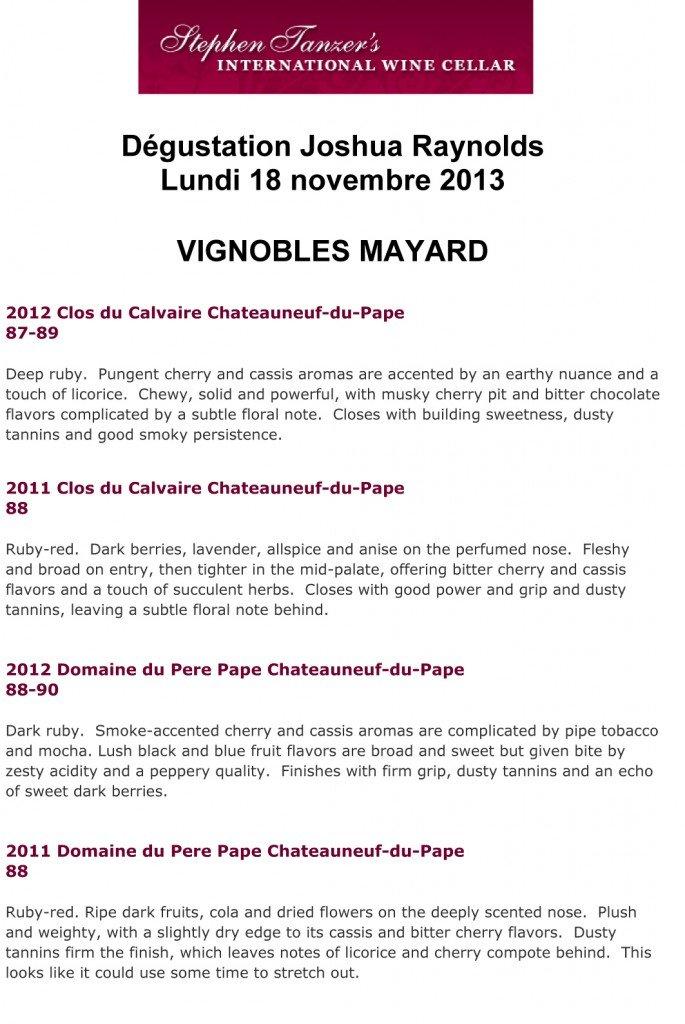 Résultats J Raynolds MAYARD